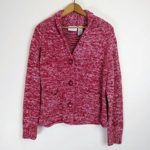 Liz Claiborne Red V-neck Cardigan w Pockets, PM
